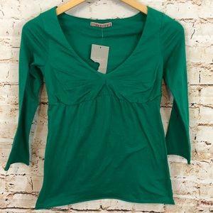 Anthropologie Velvet shirt top green vneck ruched
